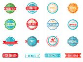 picture of denied  - Set of sixteen vector colored emblems and stamps in flat style depicting denied  approved  exclusive  original  certified  free and 100 percent guarantee in round and rectangular banner form - JPG