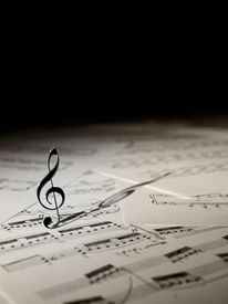 image of musical scale  - Violin Key on the music sheets with black copy space for music - JPG