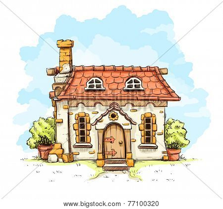 Entrance in old fairy-tale house with tiles roof. Eps10 vector illustration. Isolated on white background