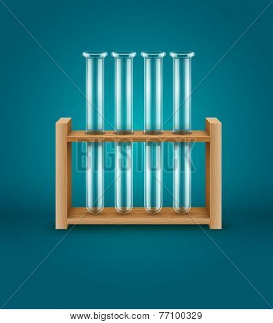 Test-tubes for medical laboratory analysis research in wooden support. Eps10 vector illustration