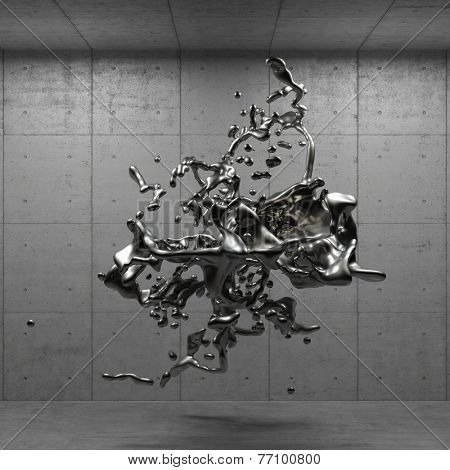 Liquid silver splashes hovering in a concrete room (3D Rendering)