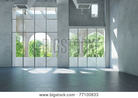 Empty bright white hall with space for office or gallery (3D Rendering)