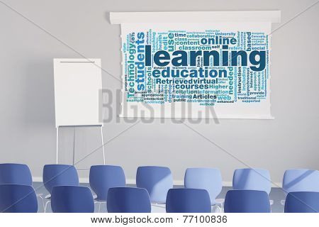 Learning tag cloud on flipchart in white seminar room (3D Rendering)