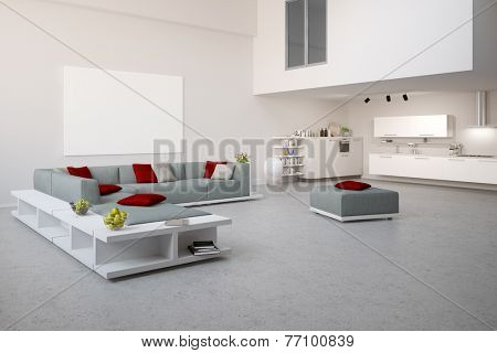 Modern loft with grey sofa and white living kitchen (3D Rendering)
