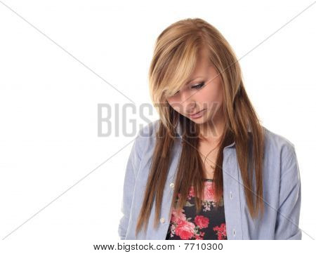 Sad Attractive Young Teenage Girl