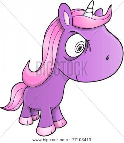 Crazy Unicorn Vector Illustration Art