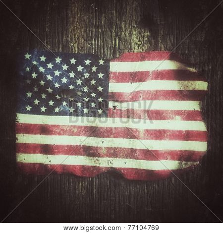 Rugged flag of the United States of America, grunge style