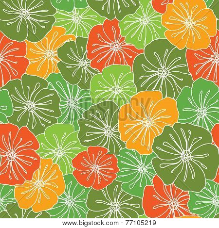 Abstract Floral Seamless Background Pattern Design In A Sweet Autumn Colors (vector Illust