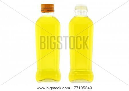 Glass bottles of Olive Oil with mild taste isolated on white background