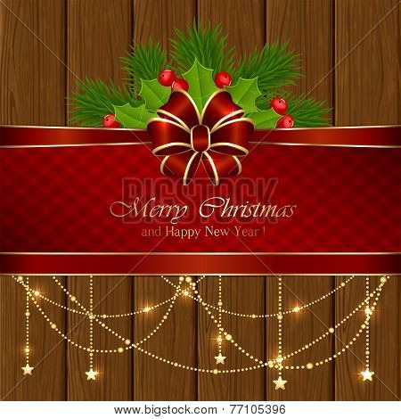 Wooden Background With Christmas Elements