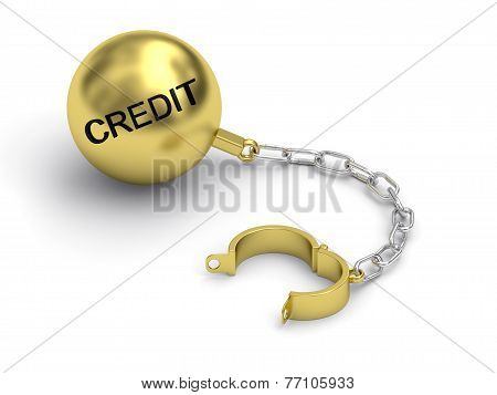 Golden Prison Shackle With Credit Word On White Background