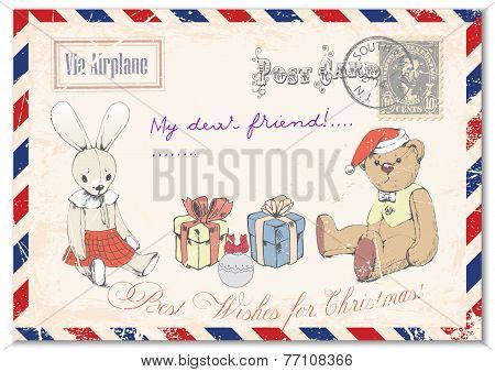 . vintage grunge postcard hand drawing of Teddy bear Teddy and rabbit on postcards, greeting merry C