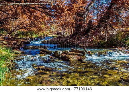 Beautiful Fall Foliage and Waterfalls On The Guadalupe River, Texas.