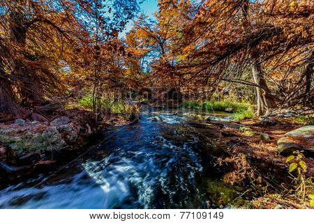 Beautiful Fall Foliage On The Guadalupe River, Texas.  Waterfalls.