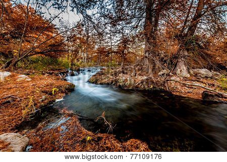 Beautiful Fall Foliage On The Guadalupe River, Texas.  Waterfall