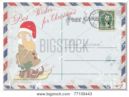 vintage grunge postcard hand drawing gay dwarf on postcards, greeting merry Christmas.vector illustr