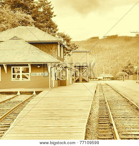 Vintage Image Of The Railway Station.