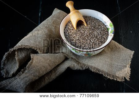 Chia seeds in ceramic bowl