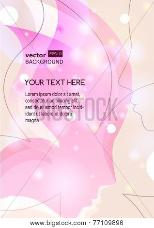Vector Background With Beautiful Girl Silhouette. Woman's Face In Butterfly Wings. Abstract Design C