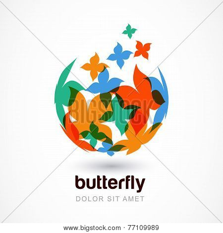 Vector Logo Design Template. Colorful Abstract Flying Butterflies On Sphere. Concept For Celebration