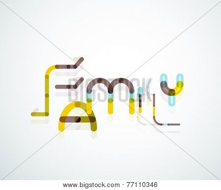 Family word concept, minimal line design