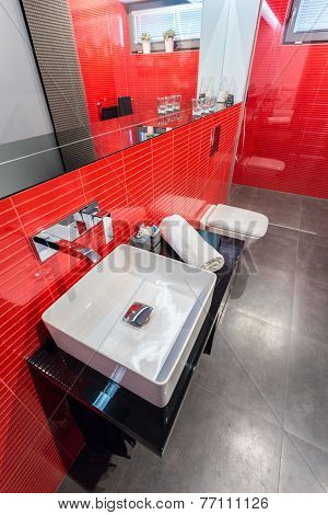 Red And Gray Bathroom