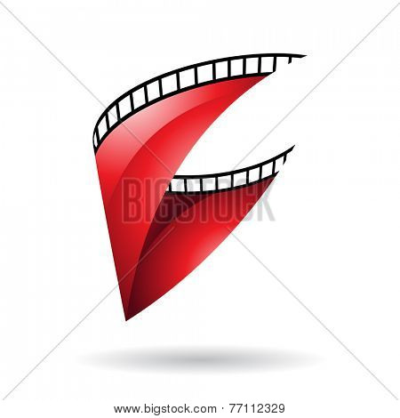 Red Glossy Film Reel Isolated on a white background