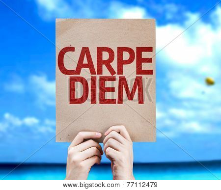 Carpe Diem card with a beach on background