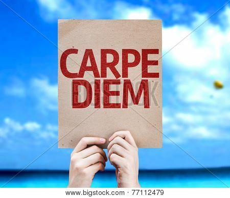 Carpe Diem card with a beach on background
