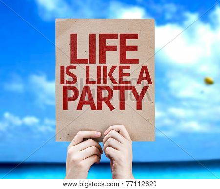 Life Is Like a Party card with a beach on background