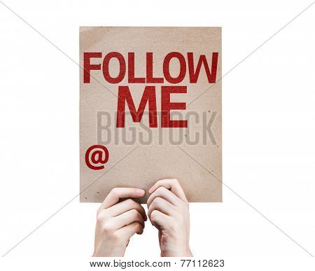 Follow Me with a Copy Space to put the profile name card isolated on white background