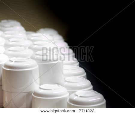Stacked White Coffee Cups