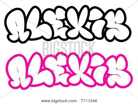 the name Alexis in graffiti style funny bubble fonts