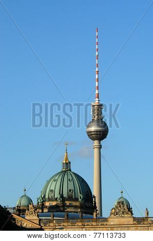 Berlin Cathedral and TV Tower in Berlin, Germany.