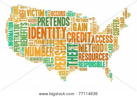 Identity Theft Concept With Tag Cloud Forming The Shape Of American Map