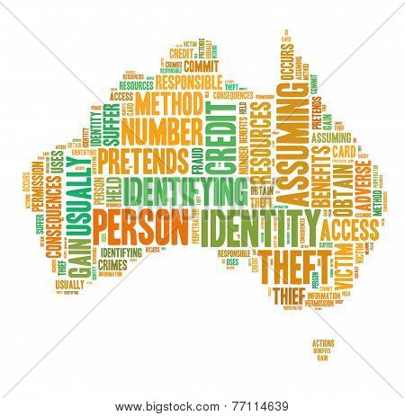 Identity Theft Concept With Tag Cloud Forming The Shape Of Australia Map