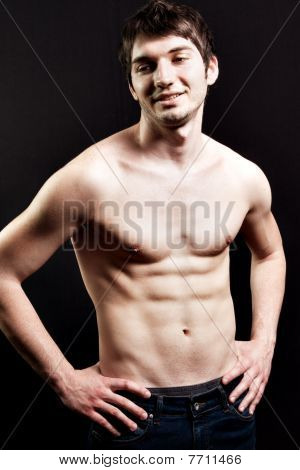 Shirtless Sexy Man With Muscular Abdomen