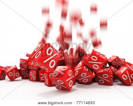 Falling red cubes with percent in focus isolated on white background