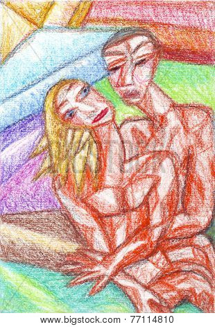 Couple Cubism Oil Pastel Painting