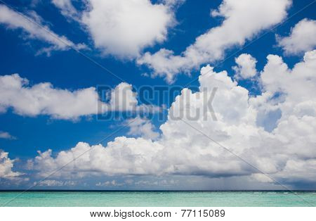 Clouds above the beach in the Indian Ocean, Kuramathi