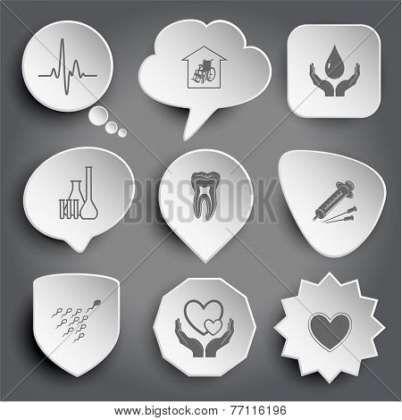 cardiogram, nursing home, protection blood, chemical test tubes, tooth, syringe, spermatozoon, love in hands, heart. White vector buttons on gray.
