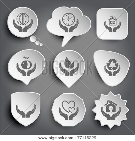 protection world, clock in hands, home, apple, life, protection nature, human hands, love, economy. White vector buttons on gray.