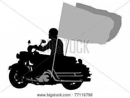 Motorcyclist in sportswear on white background