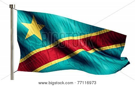 Democratic Republic Of The Congo National Flag Isolated 3D White Background