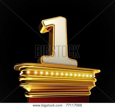 Number One on a golden platform with brilliant lights over black background