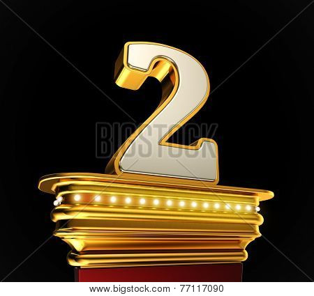 Number Two on a golden platform with brilliant lights over black background