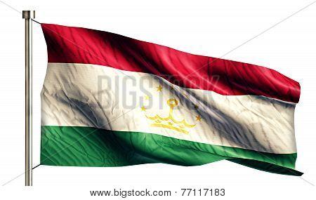 Tajikistan National Flag Isolated 3D White Background