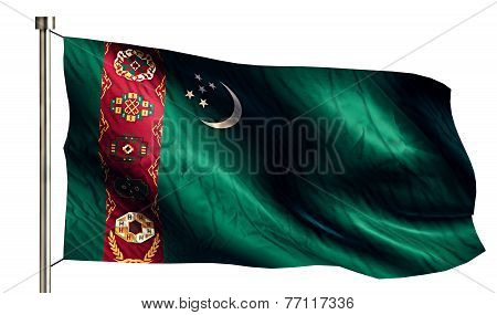 Turkmenistan National Flag Isolated 3D White Background