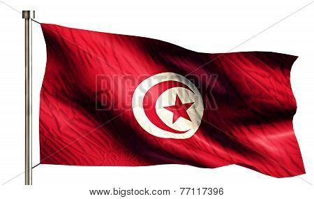 Tunisia National Flag Isolated 3D White Background