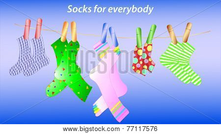 Illustration of the socks with clothespins on the lace
